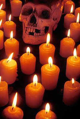 Skull And Candles Art Print