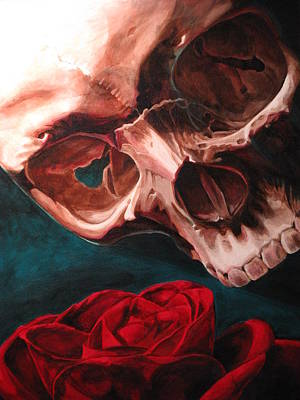 Rose And Skull Painting - Skull And Rose  by Melissa  Johnson