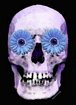 Strange Days Painting - Skull Art - Day Of The Dead 3 by Sharon Cummings