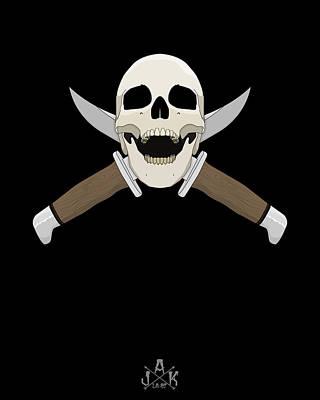 Digital Art - Skull Black by Josh Katz