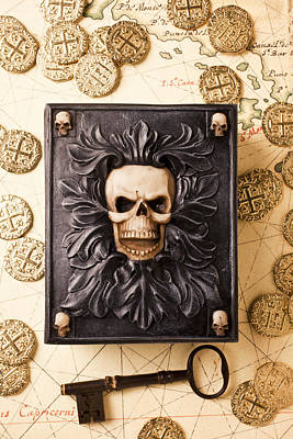 Coins Photograph - Skull Box With Skeleton Key by Garry Gay