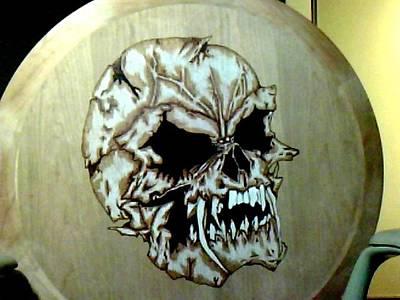 David Gray Pyrography - Skull Burnung by David Gray