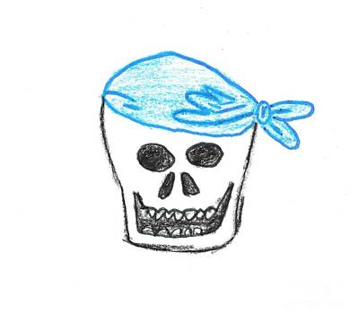 Skull In Blue Bandanna Art Print by Jeannie Atwater Jordan Allen
