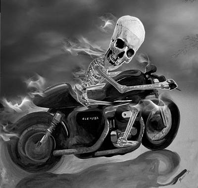 Skull Rider On Cafe Sportster Art Print by Janet Oh