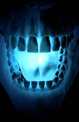 Human Body Digital Art - Skull, Teeth And Tongue by MedicalRF.com