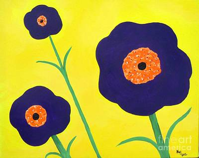 Art Print featuring the painting Sky High Flowers by Alys Caviness-Gober