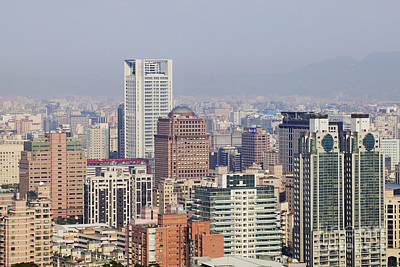 Office Space Photograph - Skyline Of Downtown Taipei On A Smoggy Day by Jeremy Woodhouse