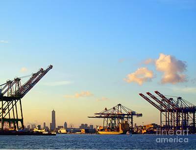 Tower Crane Photograph - Skyline Of Kaohsiung City by Yali Shi