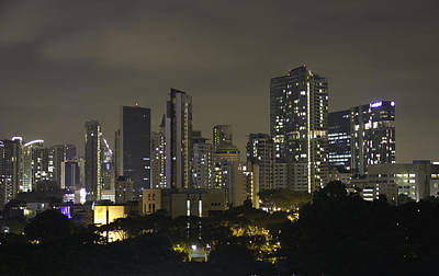 Greenery Photograph - Skyline Of Singapore At Night As Seen From An Apartment Complex by Ashish Agarwal