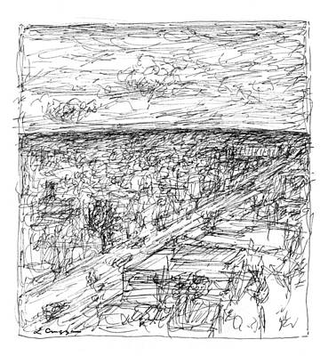 Skyline Sketch Art Print by Elizabeth Carrozza