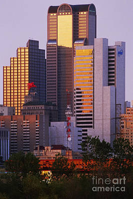 Skyscrapers In Downtown Dallas Art Print by Jeremy Woodhouse