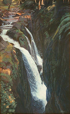Olympic National Park Painting - Slanting Sunlit Sol Duc Falls by Shawn Shea