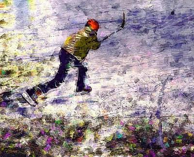 Pond Hockey Digital Art - Slap Shot by Jeff Gibford