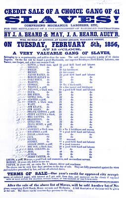 Slave Auction Notice Art Print by Photo Researchers, Inc.