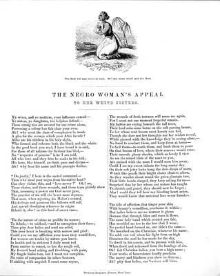 Slavery. An Abolitionist Poem Entitled Art Print by Everett