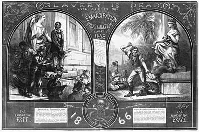 Slavery, Two Illustrations Showing Art Print by Everett