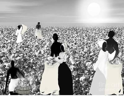 Slaves Picking Cotton Art Print by Belinda Threeths