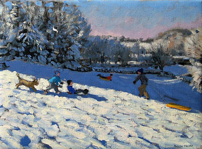 Winter Landscape Painting - Sledging Near Youlgreave by Andrew Macara