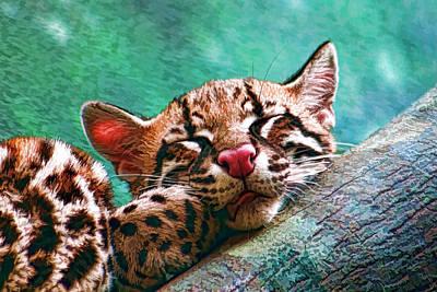 Adorable Digital Art - Sleeping Baby Ocelot Kitten by Tracie Kaska