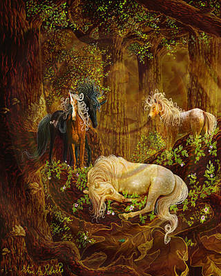Unicorn Painting - Sleeping Beauty by Steve Roberts