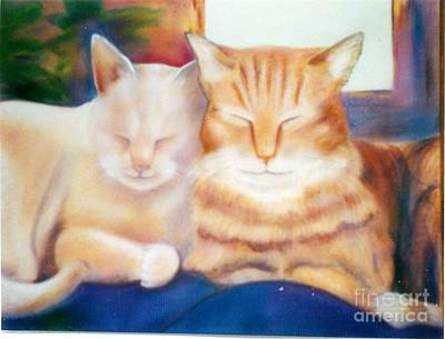 Painting - Sleeping Cats Just Had Milk.... by Geri Jones