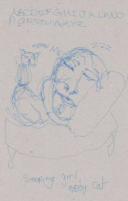 Primitive Drawing - Sleeping Girl Needy Cat by Catherine Carr