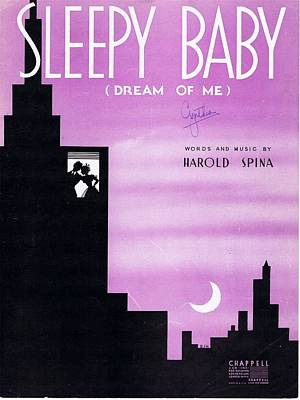 Old Sheet Music Photograph - Sleepy Baby by Mel Thompson