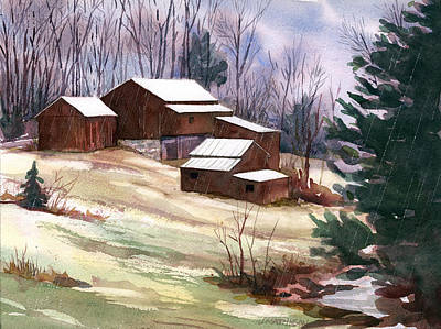Sleet On Sheds Art Print by Jeff Mathison