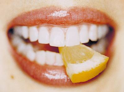Slice Of Lemon Between Teeth Art Print by Cristina Pedrazzini