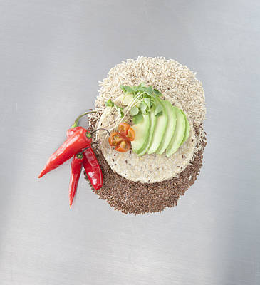 Y120831 Photograph - Sliced Avocado And Peppers With Grains by Laurie Castelli