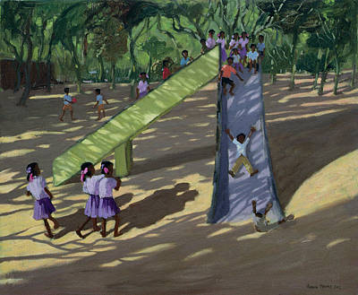 Indian Children Painting - Slide Mysore by Andrew Macara