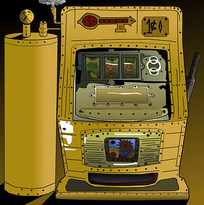 Drawing - Slots Punk - The Steam Punk Slots Machine by Casino Artist