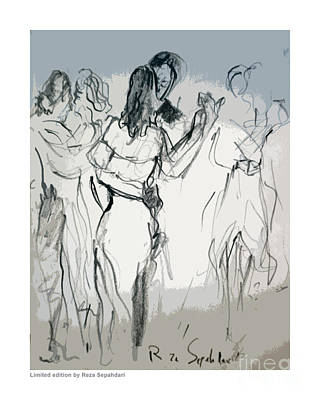 Drawing - Slow Dancing by Reza Sepahdari