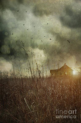 Old House Photograph - Small Abandoned Farm House With Storm Clouds In Field by Sandra Cunningham