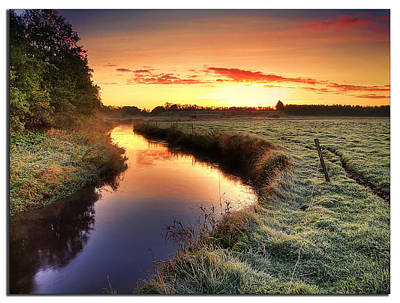 Small River At Sunrise Art Print by H-L-Andersen