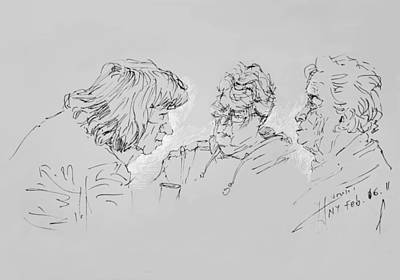At The Cafe Drawing - Small Talk  Over Coffee by Ylli Haruni