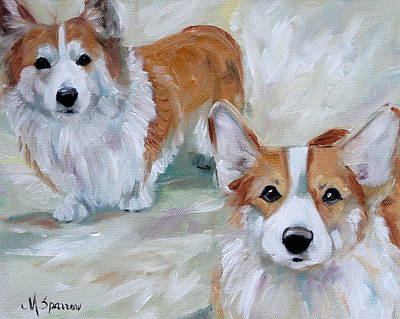 Oils Painting - Smarty And Rosie by Mary Sparrow
