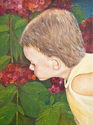Smelling The Hydrangeas Art Print