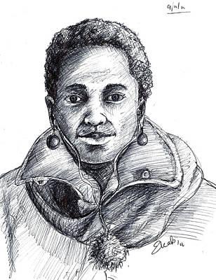 Ball Point Pen Painting - Smile by Eric  Amoakwa-Boadu