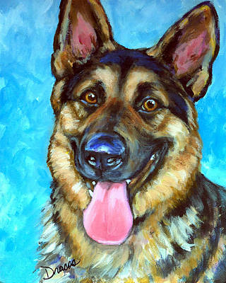 Smiling German Shepherd Art Print