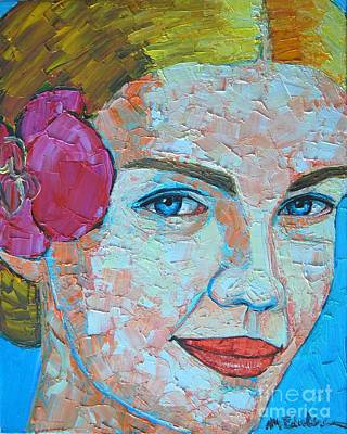 Blue And Red Painting - Smiling Girl by Ana Maria Edulescu