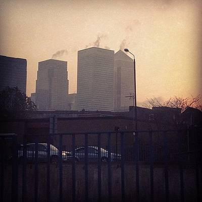 Steam Wall Art - Photograph - Smoking Skyscrapers! #canarywharf #hsbc by Mike Hayford