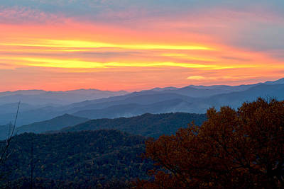 Smoky Mountains Burning Sunset Art Print