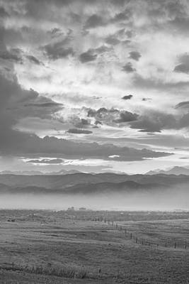 Photograph - Smoky Sunset Over Boulder Colorado Bw by James BO  Insogna