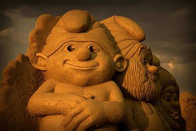 Photograph - Smurfs Sand Figures by Radoslav Nedelchev