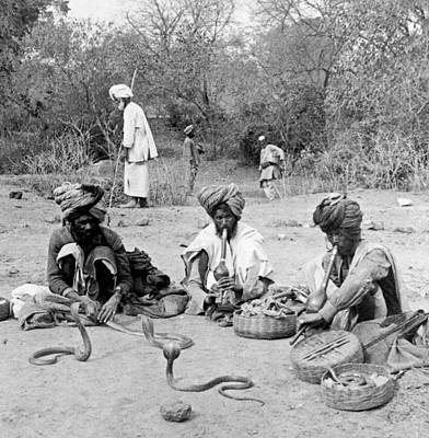 Snake Charmers In Delhi - India - C 1903 Art Print by International  Images
