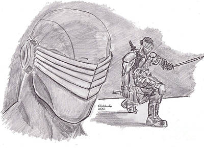 Drawing - Snake Eyes by Chris  DelVecchio