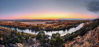 Snake River Panoramic Sunset Art Print by Leland D Howard