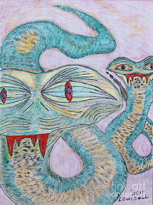 Lavender Drawing - Snake Twins by Robyn Louisell