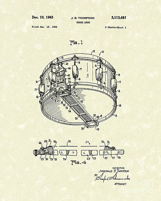 Snare Drum 1963 Patent Art Art Print by Prior Art Design